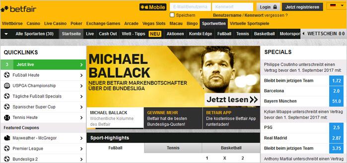 Michael Ballack und Betfair