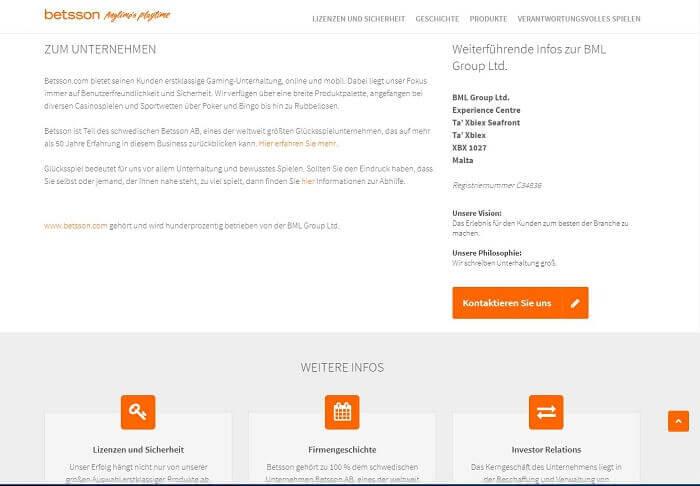 Screenshot der Unternehmensseite von Betsson