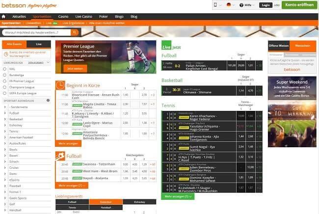 Screenshot Webseite von Betsson Sportwetten