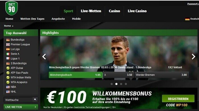 Bet90  Website Screenshot