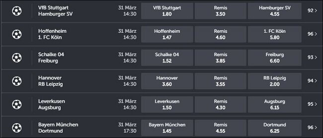 Bundesliga Wettquoten ComeOn