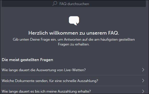 FAQ-Bereich von ComeOn