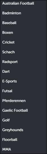 ComeOn Sportarten