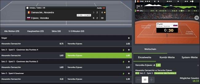 Comeon Tennis Livewetten