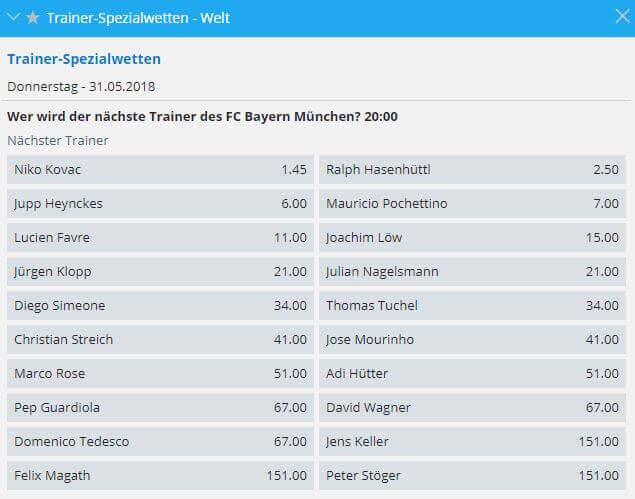 Bayern Trainer Wetten