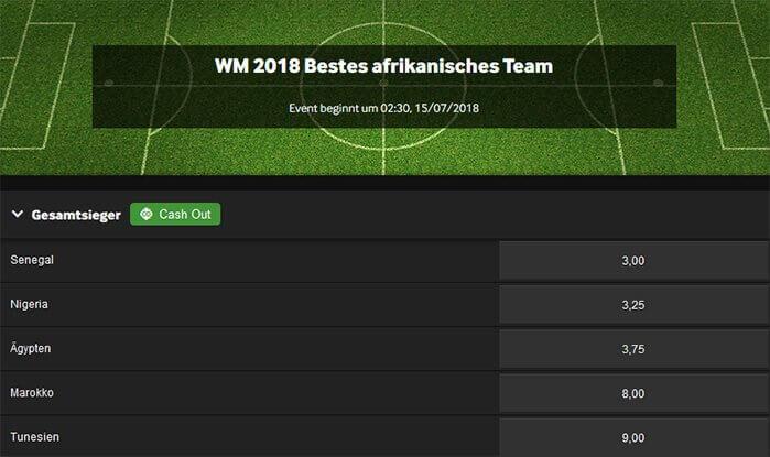 Bestes afrikanisches Team Spezialwette WM 2018 Betway