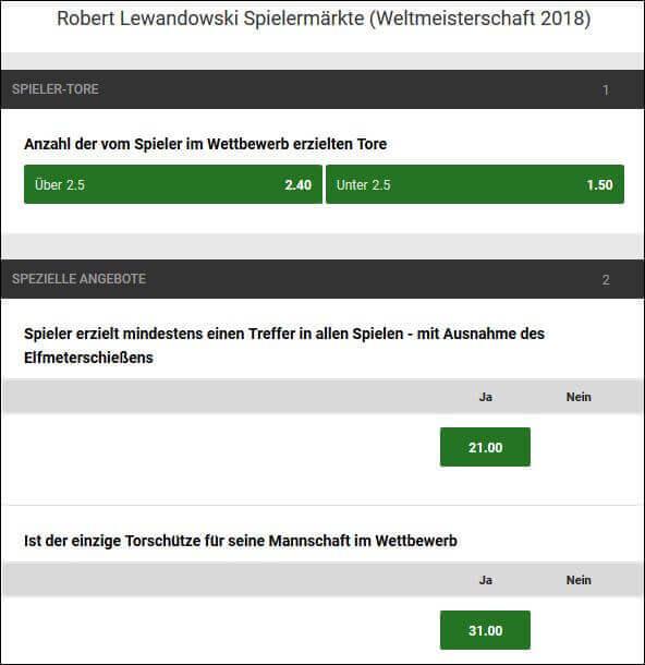 Unibet WM 2018 Robert Lewandowski Wetten