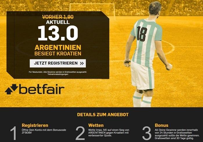 Betfair Quotenboost Argentinien - Kroatien