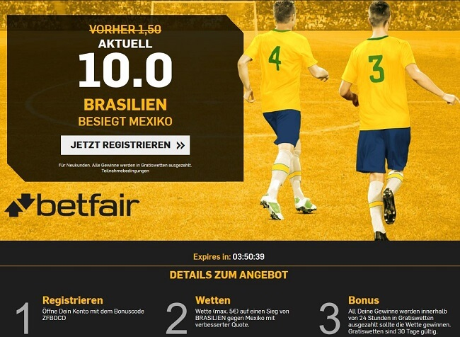 Betfair Quotenboost Brasilien - Mexiko
