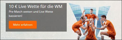 Betsson: 10 Euro Livewette zum WM-Finale