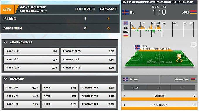 Screenshot zu den Wetten.com Livewetten