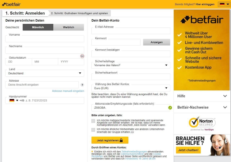 Betfair Registrierung