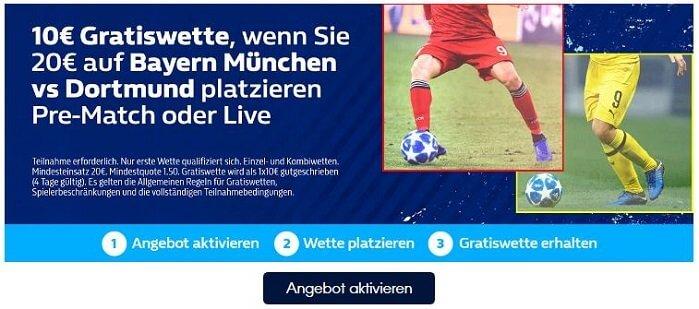 William Hill Bayern Dortmund Gratiswette