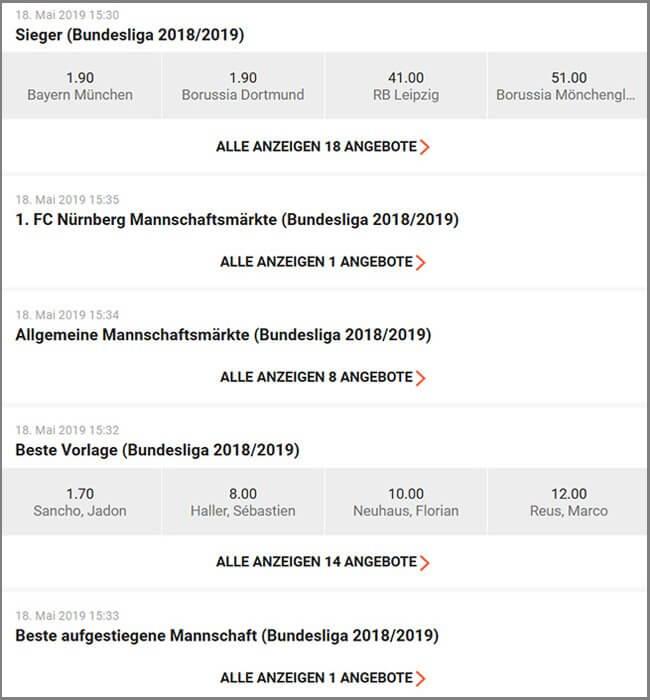 Langzeitwetten Bundesliga LeoVegas