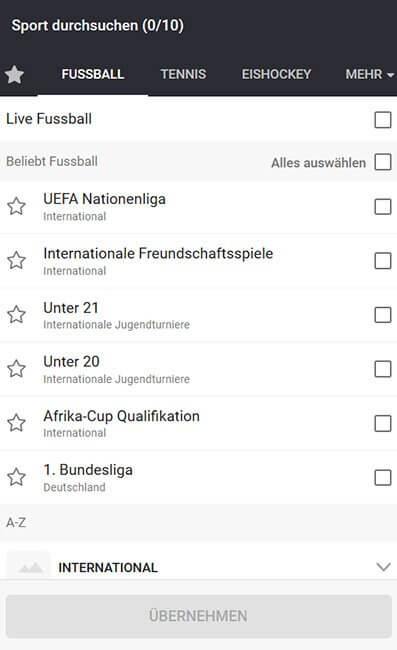 Grafik zu LeoVegas Fussballwetten Auswahl