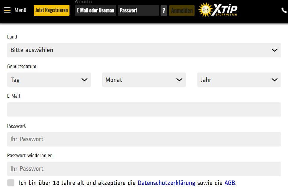 Wettanbieter XTip Registrierung