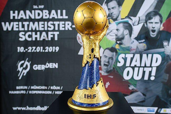 Bild zeigt Plakat zur Handball WM 2019 © Matthias Balk / dpa / picturedesk.com