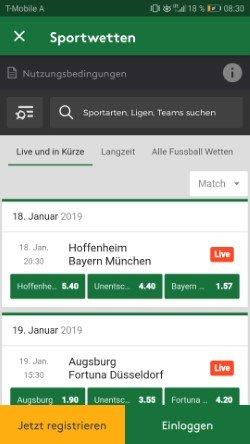 Mobil Mr Green Bundesliga Screenshot