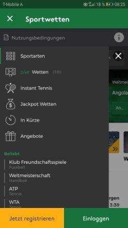 Mobile Mr Green Wettangebot Screenshot