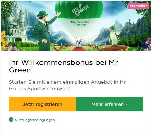 Willkommensbonus Mr Green