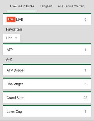 Mr Green Tenniswetten Auswahl