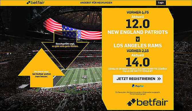Super Bowl Wetten Quotenboost bei Betfair