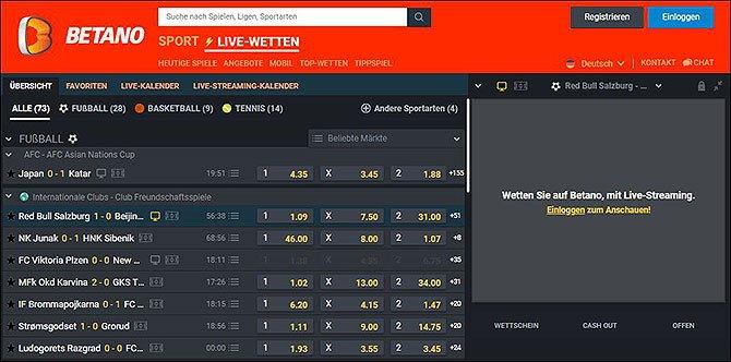 Betano Live Wetten Startseite