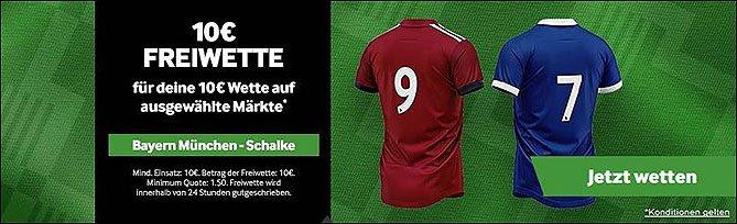 10€ Gratiswette zu Bayern - Schalke bei Betway