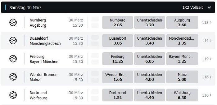 SpeedyBet Wettquoten Bundesliga