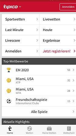 Sportwetten Tipico App