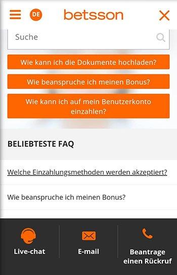 Betsson Kundenservice