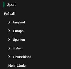 Fussballwetten MoPlay Menü
