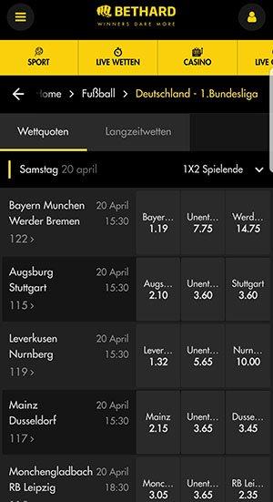 Bethard Wettquoten Bundesliga