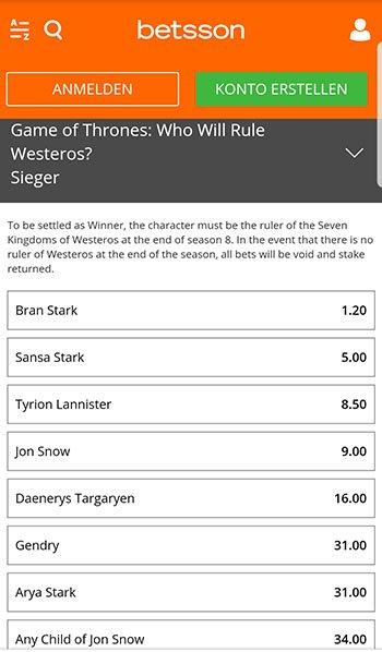 Game of Thrones Wetten bei Betsson