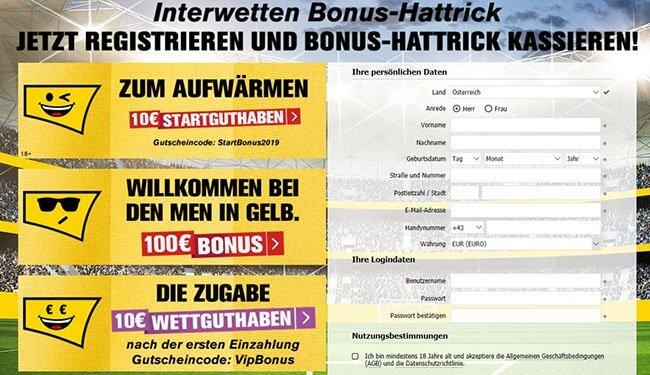 Interwetten Registrierung inklusive Bonus