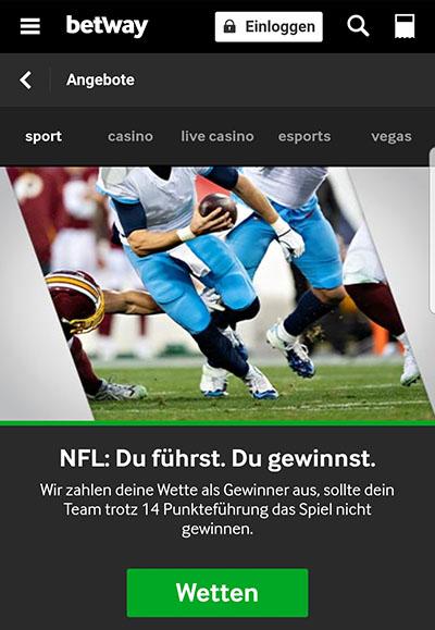 Super Bowl Wetten Betway Gewinn-Garantie 14-Punkte-Vorsprung
