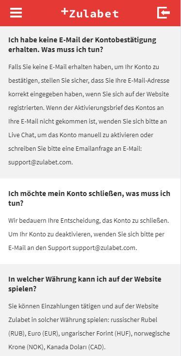 Zulabet FAQ
