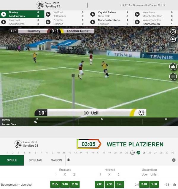 Unibet virtuelle Wetten Fußball