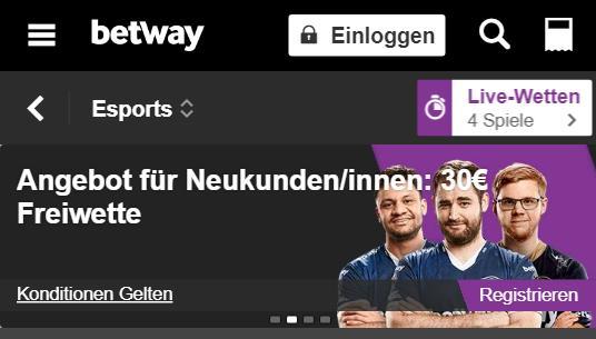 Betway Freiwetten für eSports