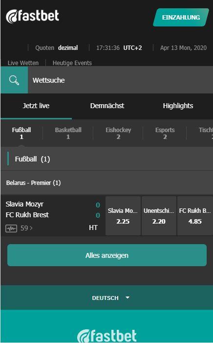 Fastbet Web App Live Mobile