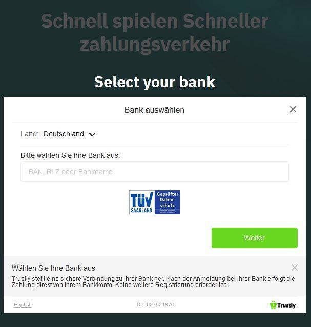 Einzahlung Trustly Fastbet Web App