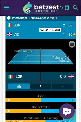 Betzest Live-Event Tennis Wettangebot