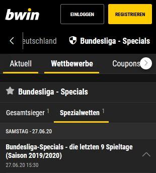 Bwin Bundesliga Wetten Spezialwetten