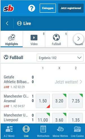 Sportingbet Livewetten Fussball