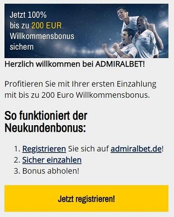 Admiralbet Bonus für Neukunden