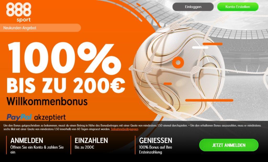 888sport Neukunden Wettbonus