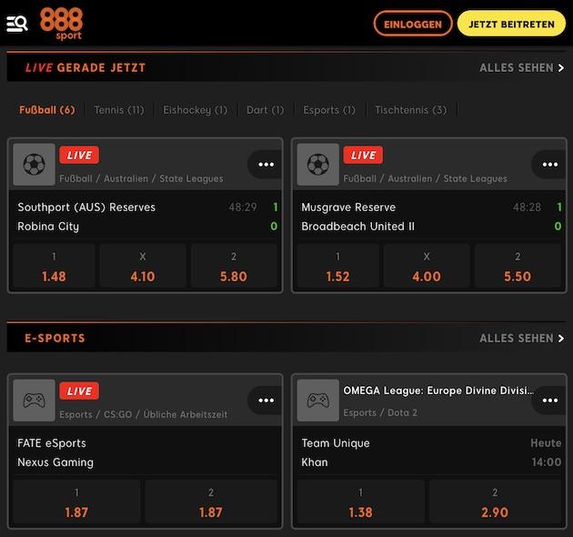 888Sport Live Wetten