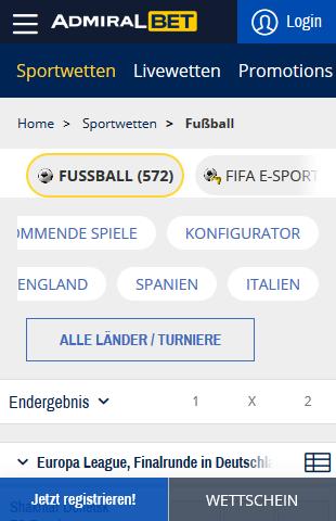 Admiralbet Fußball Wetten Übersicht
