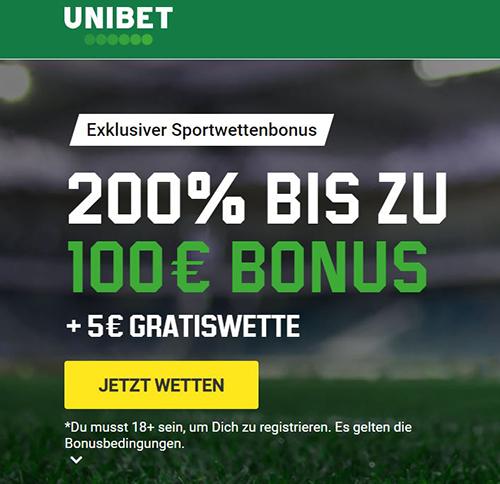 Unibet 100€ Exklusivbonus