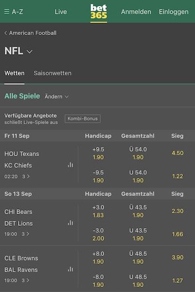 bet365 NFL Wetten